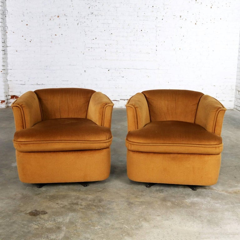 Enjoyable Pair Of Drexel Swivel Barrel Shaped Club Chairs In Burnt Squirreltailoven Fun Painted Chair Ideas Images Squirreltailovenorg