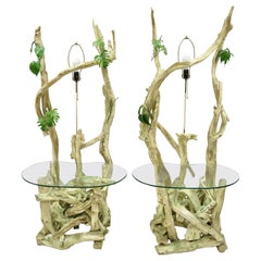 Pair of Driftwood Mid-Century Modern Tiki Jungle Lamp End Tables Kidney Glass
