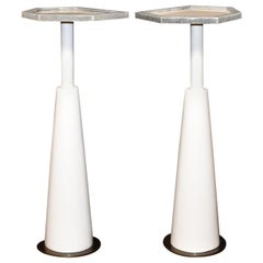 Pair of Drink Side Tables with Shagreen Trim