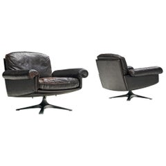 Pair of 'DS31' Swivel Chairs in Dark Brown Leather by De Sede