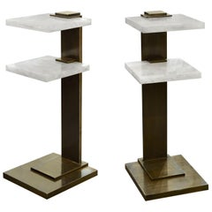 Pair of DWD Rock Crystal Drinking Tables by Phoenix