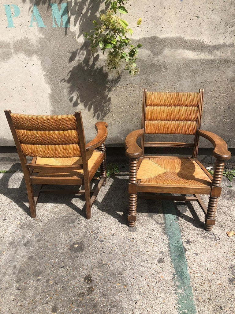 Mid-Century Modern Pair of Dudouyt Armchairs For Sale