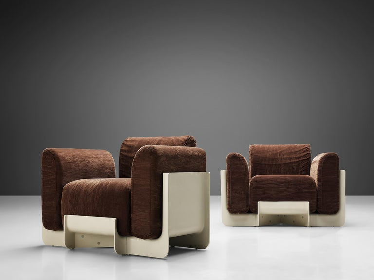 Upholstery Pair of Duna Armchairs by Guarnacci, Padovano and Vagnoni for Uno Pi For Sale