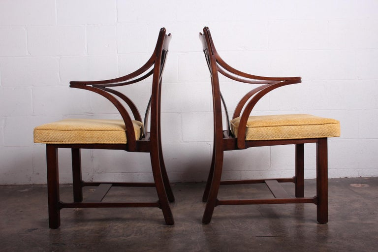 A rare pair of armchairs from the Janus collection know as the the Greene & Greene chairs for their crafted appearance. Designed by Edward Wormley for Dunbar.