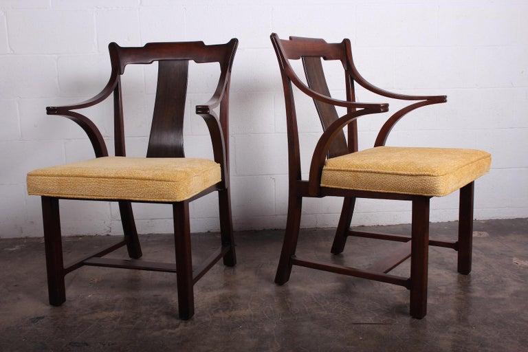 Walnut Pair of Dunbar Armchairs by Edward Wormley For Sale