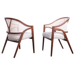 Pair of Dunbar Cane Back Armchairs by Edward Wormley