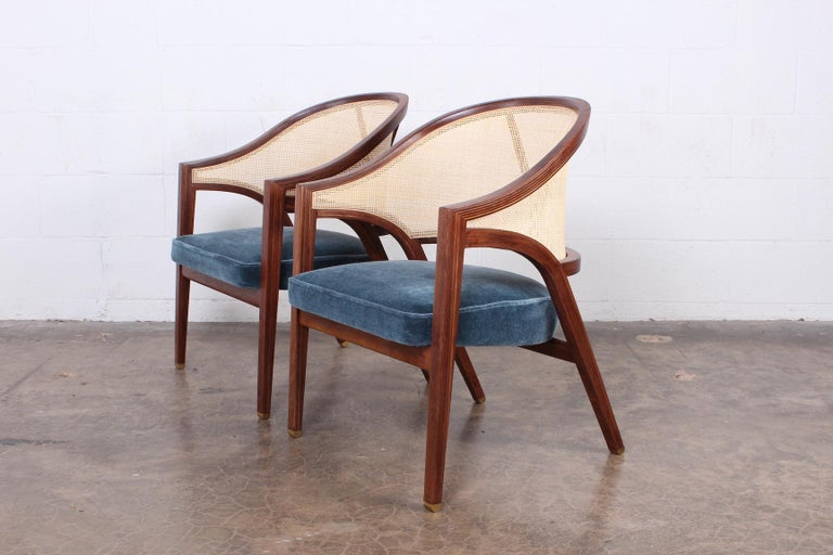 Pair of Dunbar Cane Back Lounge Chairs by Edward Wormley For Sale 6