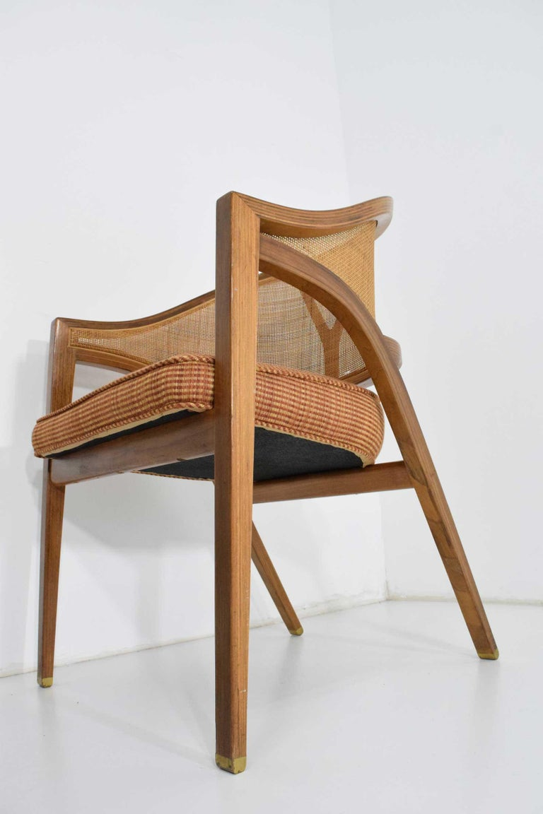 Pair of Dunbar Cane Back Lounge Chairs by Edward Wormley For Sale 4
