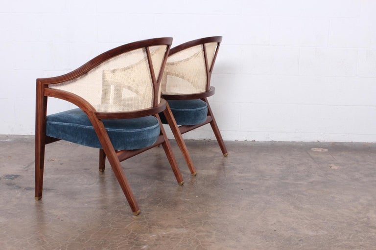 Pair of Dunbar Cane Back Lounge Chairs by Edward Wormley For Sale 7