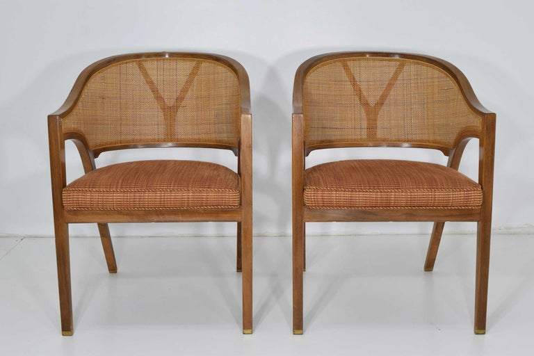 Beautiful cane back, brass shoes, layered bentwood, chair is amazingly comfortable and a Classic design by Edward Wormley for Dunbar.