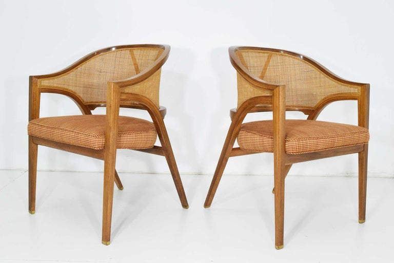 Mid-Century Modern Pair of Dunbar Cane Back Lounge Chairs by Edward Wormley For Sale