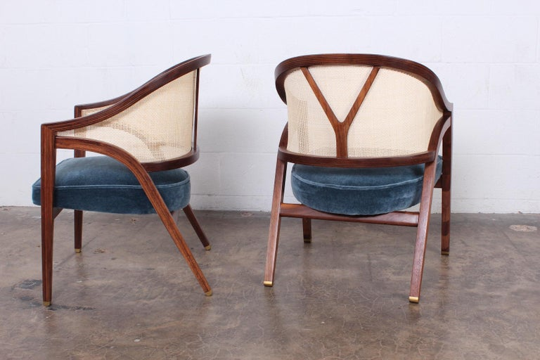 Pair of Dunbar Cane Back Lounge Chairs by Edward Wormley In Excellent Condition For Sale In Dallas, TX