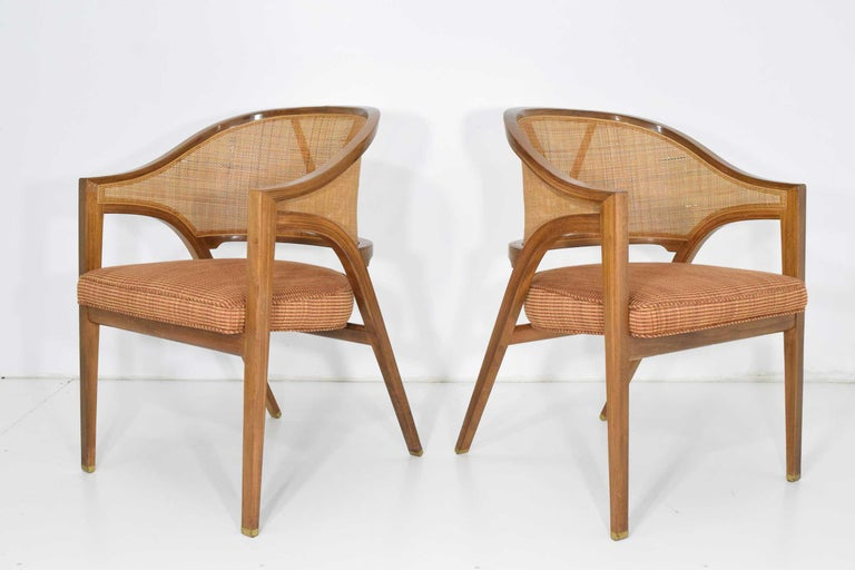 American Pair of Dunbar Cane Back Lounge Chairs by Edward Wormley For Sale
