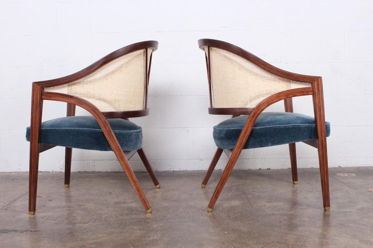 Mid-20th Century Pair of Dunbar Cane Back Lounge Chairs by Edward Wormley For Sale