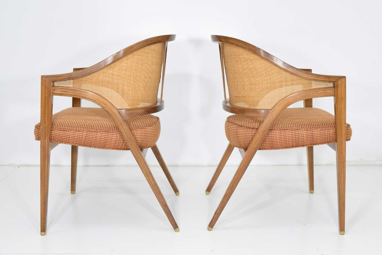 Pair of Dunbar Cane Back Lounge Chairs by Edward Wormley In Good Condition For Sale In Dallas, TX