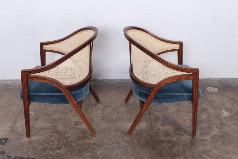 Pair of Dunbar Cane Back Lounge Chairs by Edward Wormley For Sale 1