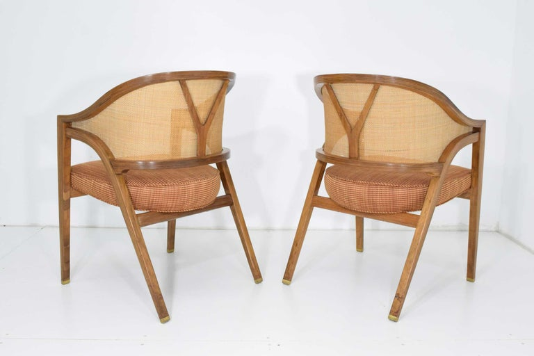 20th Century Pair of Dunbar Cane Back Lounge Chairs by Edward Wormley For Sale