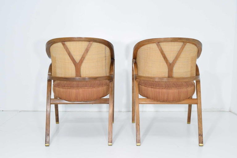 Upholstery Pair of Dunbar Cane Back Lounge Chairs by Edward Wormley For Sale