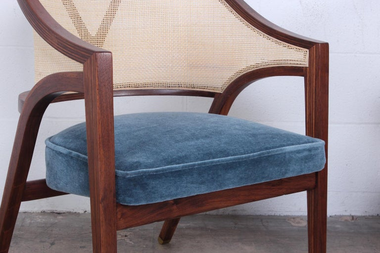 Pair of Dunbar Cane Back Lounge Chairs by Edward Wormley For Sale 5