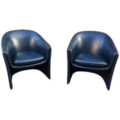 Pair of Dunbar Chairs in Dark Blue Vinyl