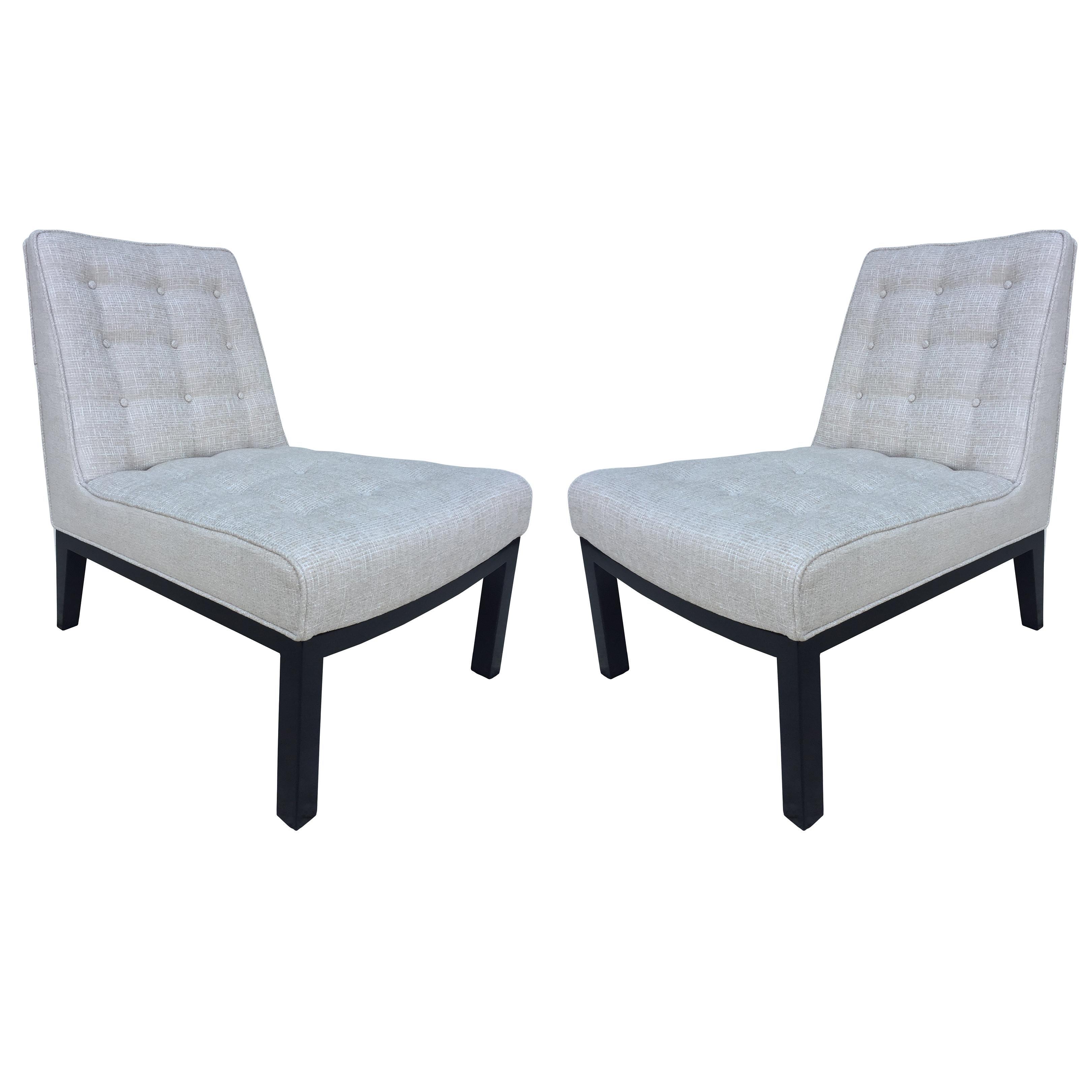 Pair of Dunbar Edward Wormley Slipper Chairs