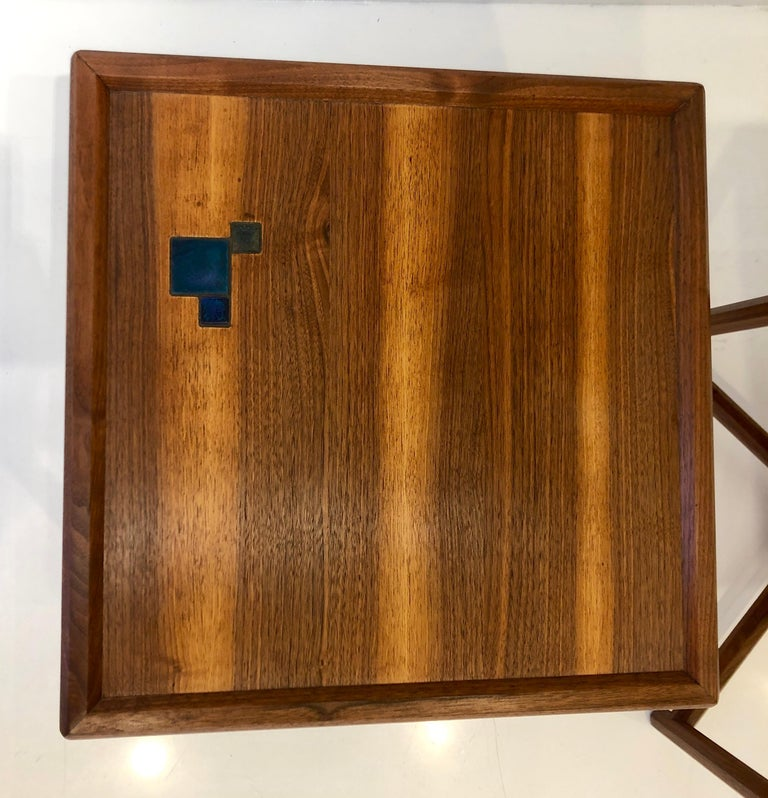 Pair of Dunbar Janus End Tables with Tiffany Tiles For Sale 7