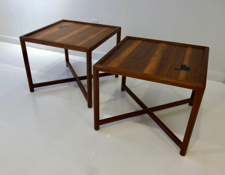Rare pair of walnut side tables, model # 5831, with inlaid Tiffany favrile glass tiles, from Edward Wormley's celebrated Arts & Crafts influenced Janus collection of 1957.