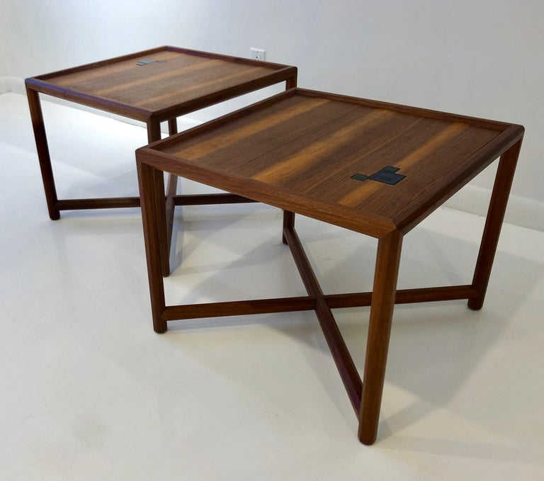 Mid-Century Modern Pair of Dunbar Janus End Tables with Tiffany Tiles For Sale