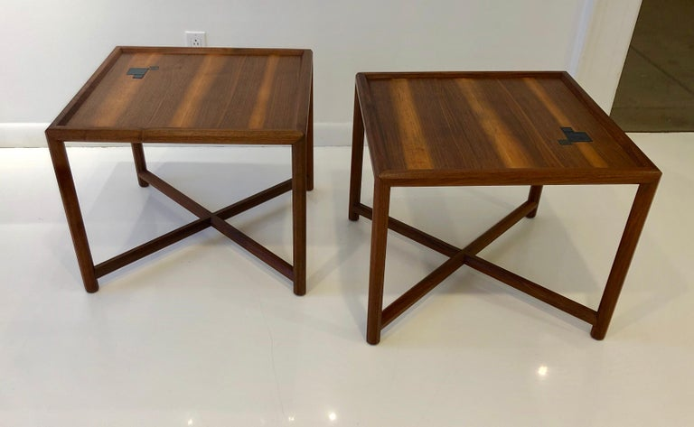 American Pair of Dunbar Janus End Tables with Tiffany Tiles For Sale