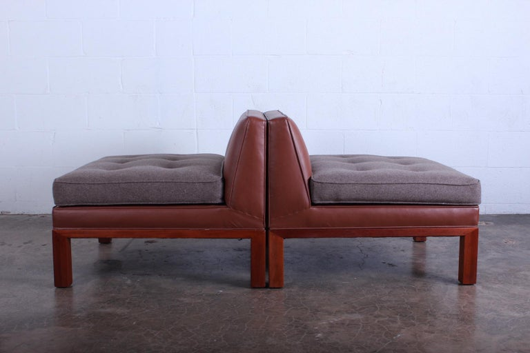 Leather Pair of Dunbar Slipper Chairs by Edward Wormley For Sale