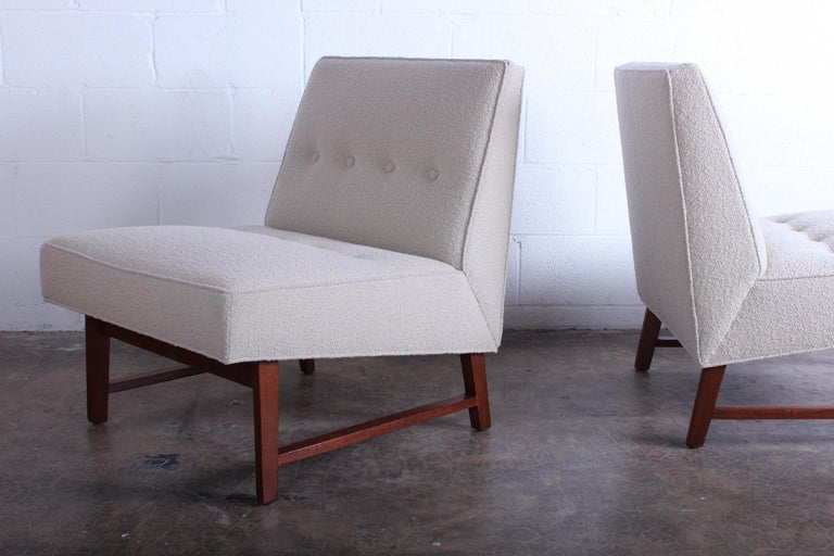 Mahogany Pair of Dunbar Slipper Chairs by Edward Wormley For Sale