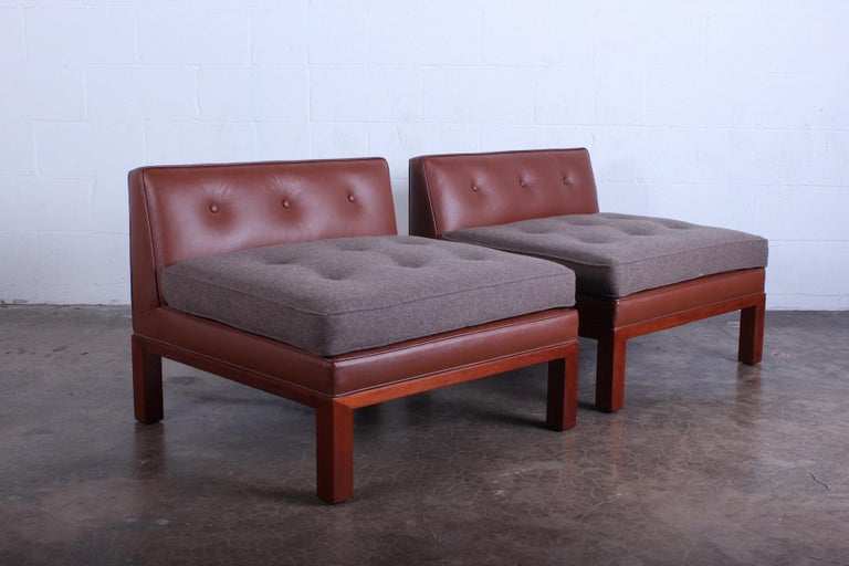 Pair of Dunbar Slipper Chairs by Edward Wormley For Sale 3
