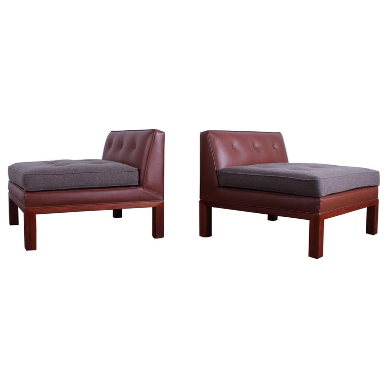 Pair of Dunbar Slipper Chairs by Edward Wormley For Sale