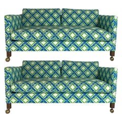 Pair of Dunbar Style Tuxedo or Parson Settees in Lattice Bamboo Upholstery