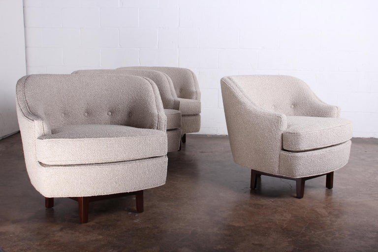 Mid-20th Century Pair of Dunbar Swivel Chairs by Edward Wormley