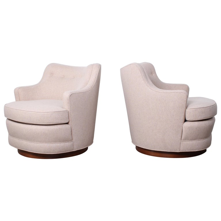 498182ed3db34 Pair of Dunbar Swivel Chairs by Edward Wormley For Sale at 1stdibs