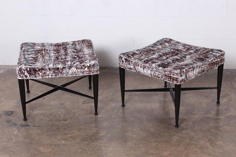 A beautifully restored pair of Dunbar Thebes stools designed by Edward Wormley.