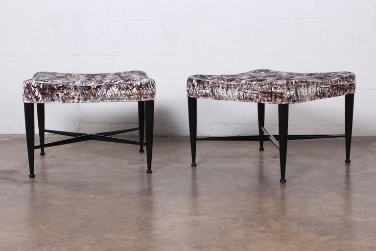 Pair of Dunbar Thebes Stools by Edward Wormley  In Excellent Condition For Sale In Dallas, TX