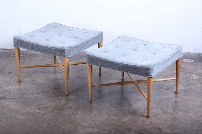 Mid-20th Century Pair of Dunbar Thebes Stools by Edward Wormley