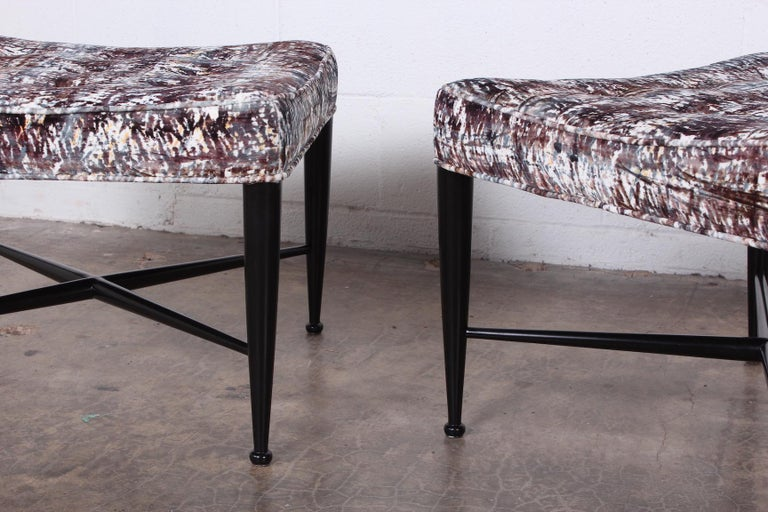 Pair of Dunbar Thebes Stools by Edward Wormley  For Sale 1