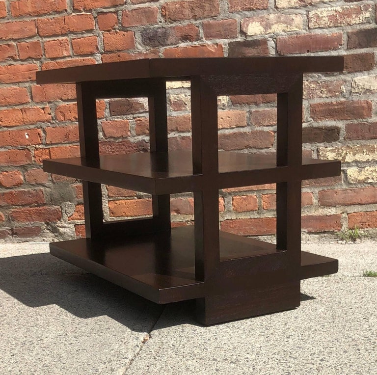 Pair of Dunbar Three-Tier Walnut End Tables In Good Condition For Sale In Hudson, NY