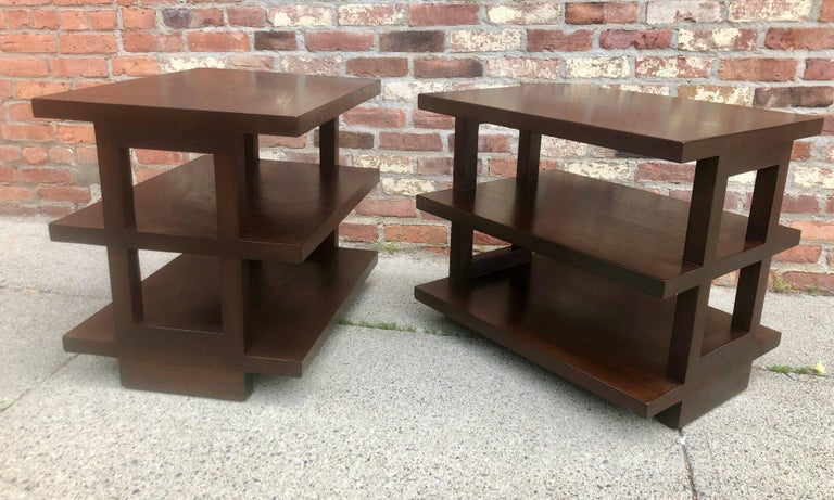 Pair of Dunbar Three-Tier Walnut End Tables For Sale 2