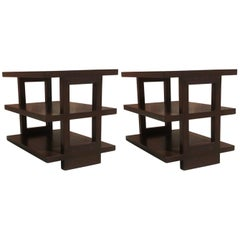 Pair of Dunbar Three-Tier Walnut End Tables