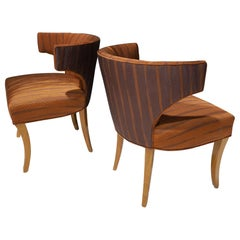 Pair of Dunbar Wing Back Side Chairs in Holly Hunt Great Plains