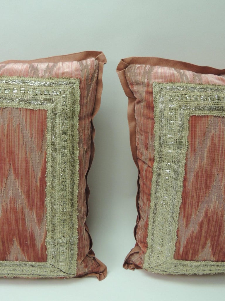 Pair of Antique Pink and Silver Flame Stitch Silk Velvet Decorative Pillows. Dusty pink and silver silk velvet flame stitch square decorative pillows. The front silk velvet on the pillows is adorned with a 19th century heavy woven silver metallic
