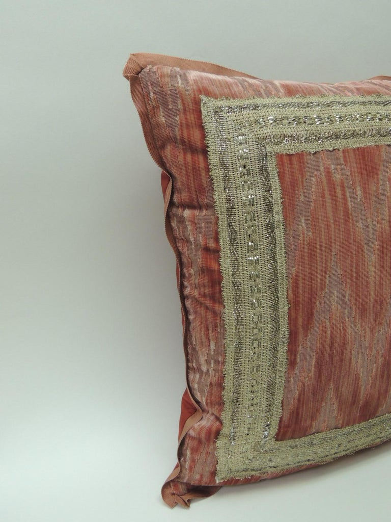 Regency Pair of Antique Pink and Silver Flame Stitch Silk Velvet Decorative Pillows