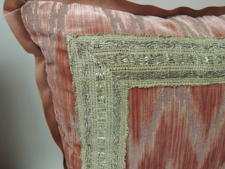 French Pair of Antique Pink and Silver Flame Stitch Silk Velvet Decorative Pillows