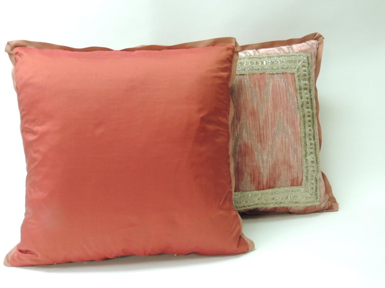 Hand-Crafted Pair of Antique Pink and Silver Flame Stitch Silk Velvet Decorative Pillows