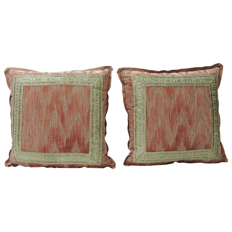 Pair of Antique Pink and Silver Flame Stitch Silk Velvet Decorative Pillows