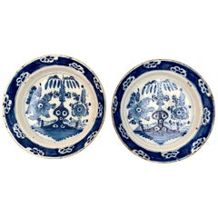 Pair of Dutch 18th Century Blue and White Delft Chinoiserie Faience Chargers